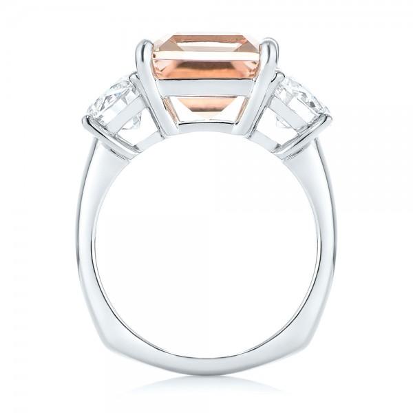 Custom Three Stone Morganite and Diamond Engagement Ring - Finger Through View