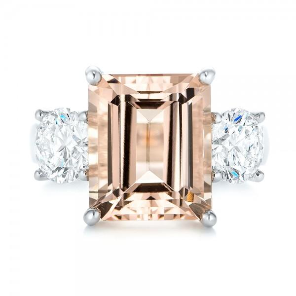 Custom Three Stone Morganite and Diamond Engagement Ring - Top View