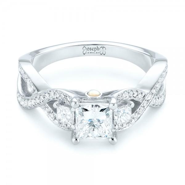 Custom Three Stone Opal and Diamond Engagement Ring - Laying View