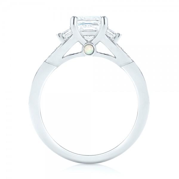 Custom Three Stone Opal and Diamond Engagement Ring - Finger Through View