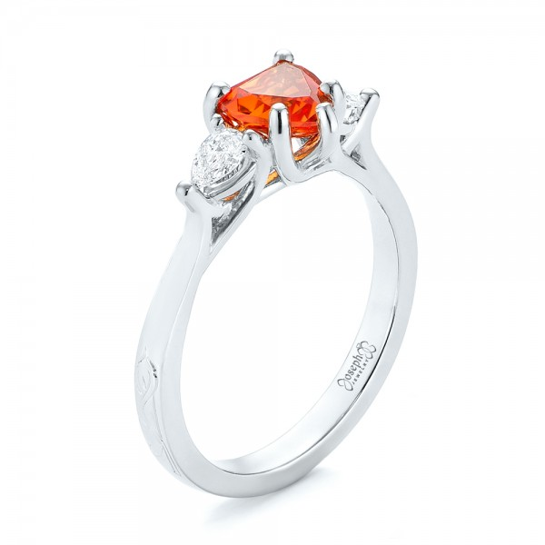 Custom Three Stone Orange Sapphire and Diamond Engagement Ring