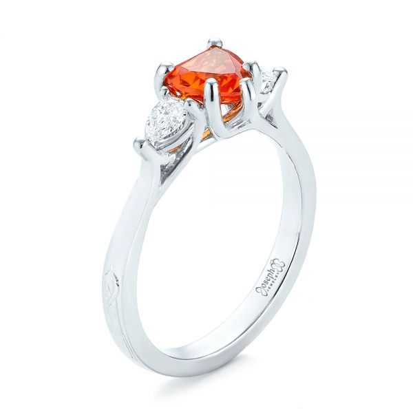 Custom Three Stone Orange Sapphire and Diamond Engagement Ring - Image