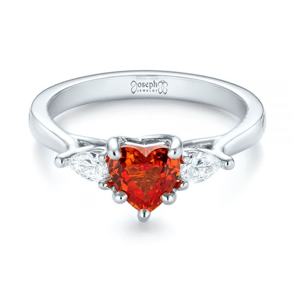 Custom Three Stone Orange Sapphire and Diamond Engagement Ring - Flat View -  103368 - Thumbnail