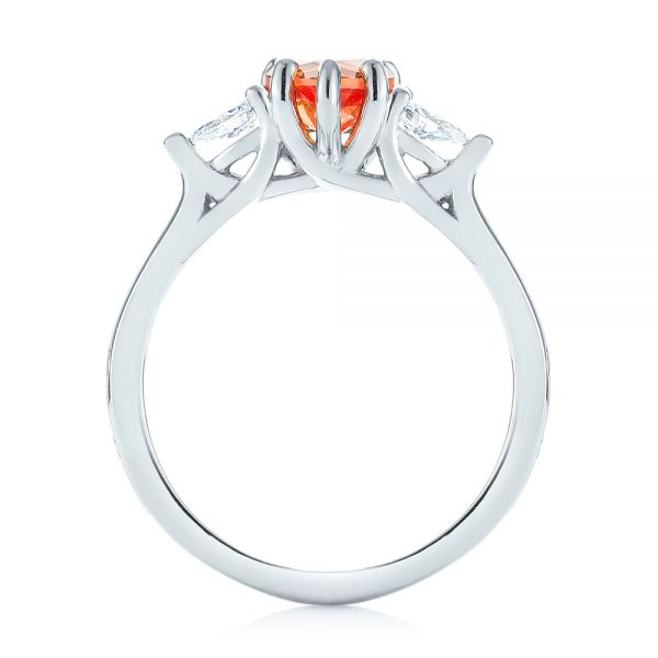 Custom Three Stone Orange Sapphire and Diamond Engagement Ring - Front View -  103368 - Thumbnail