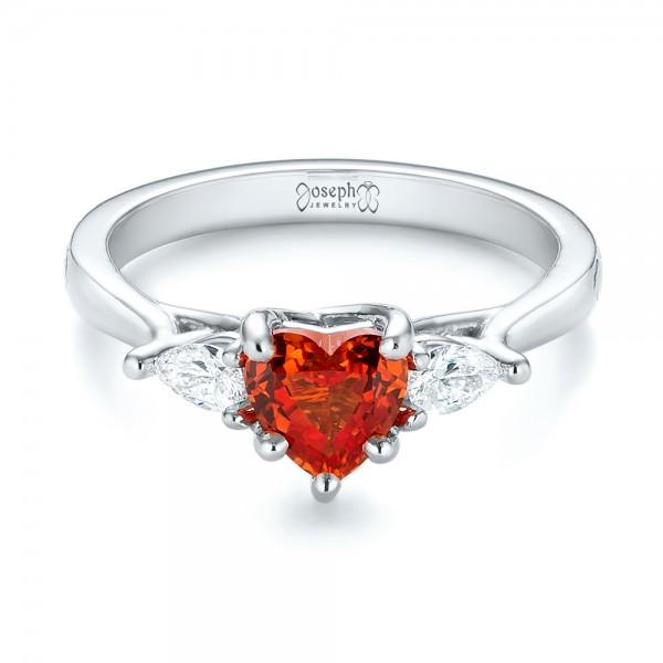 Custom Three Stone Orange Sapphire and Diamond Engagement Ring - Laying View