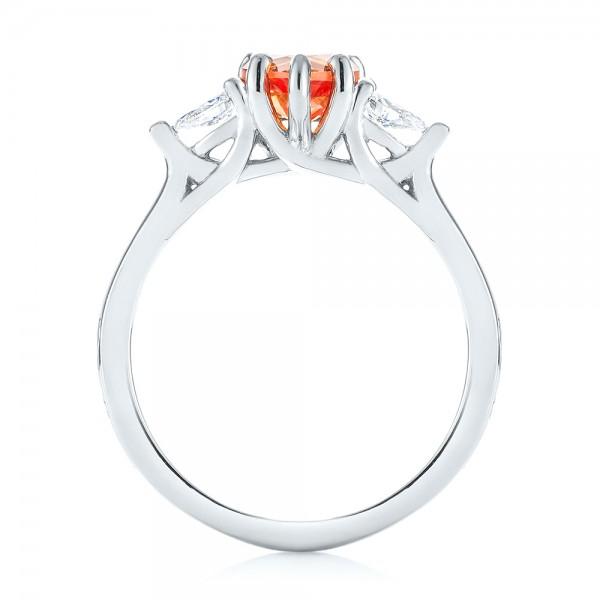 Custom Three Stone Orange Sapphire and Diamond Engagement Ring - Finger Through View