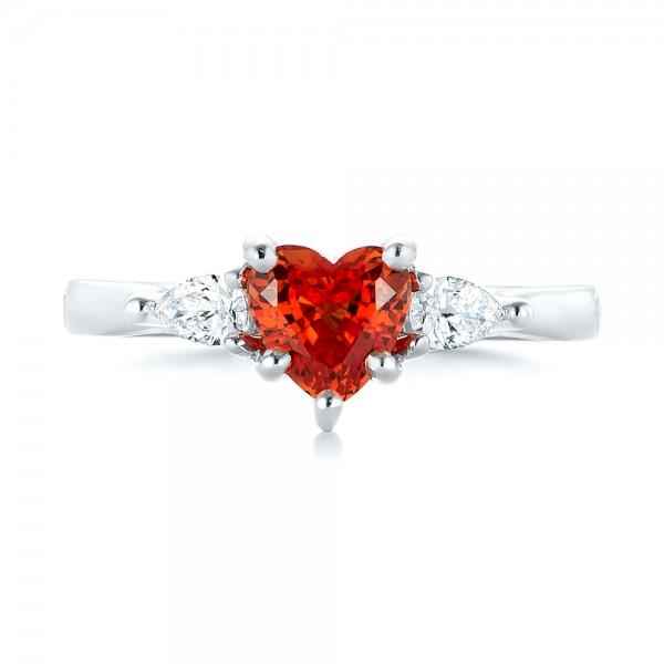 Custom Three Stone Orange Sapphire and Diamond Engagement Ring - Top View