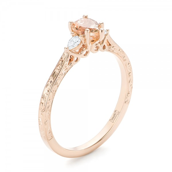 Custom Three Stone Rose Gold Morganite and Diamond Engagement Ring