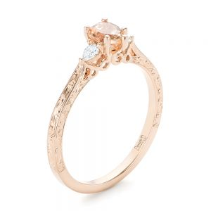 Custom Three Stone Rose Gold Morganite and Diamond Engagement Ring - Image