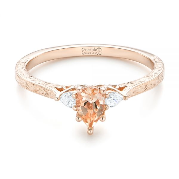 14k Rose Gold Custom Three Stone Morganite And Diamond Engagement Ring - Flat View -  102949
