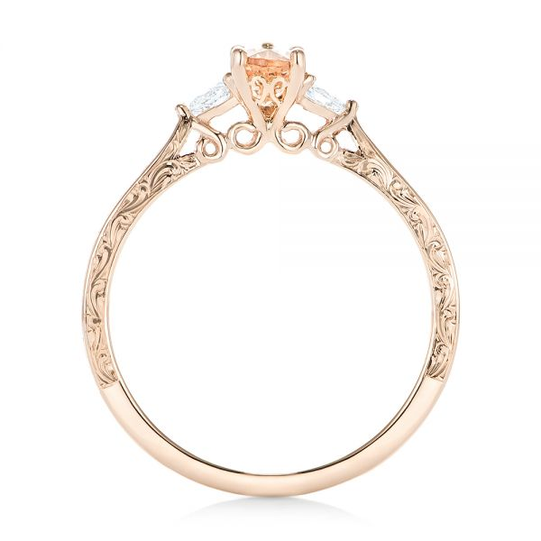 14k Rose Gold Custom Three Stone Morganite And Diamond Engagement Ring - Front View -