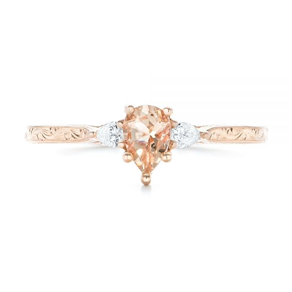 14k Rose Gold Custom Three Stone Morganite And Diamond Engagement Ring - Top View -  102949