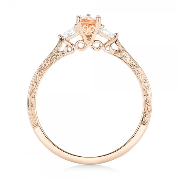 Custom Three Stone Rose Gold Morganite and Diamond Engagement Ring - Finger Through View