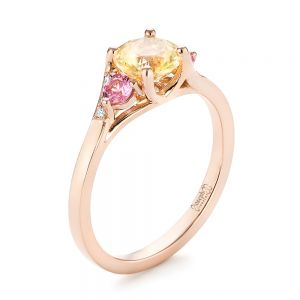 Custom Three Stone Rose Gold Yellow and Pink Sapphire and Diamond Engagement Ring