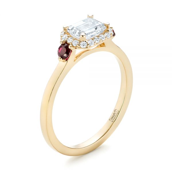 Custom Three Stone Ruby and Diamond Engagement Ring