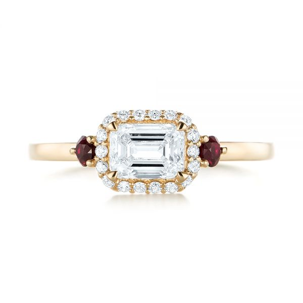 Custom Three Stone Ruby and Diamond Engagement Ring - Top View -  103239 - Thumbnail