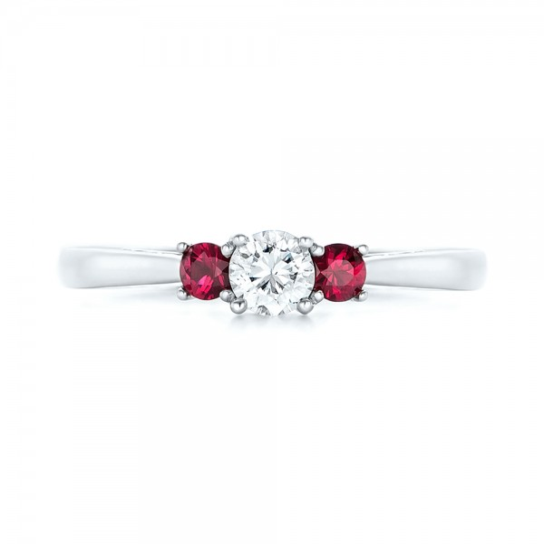 Custom Three Stone Ruby and Diamond Engagement Ring - Top View