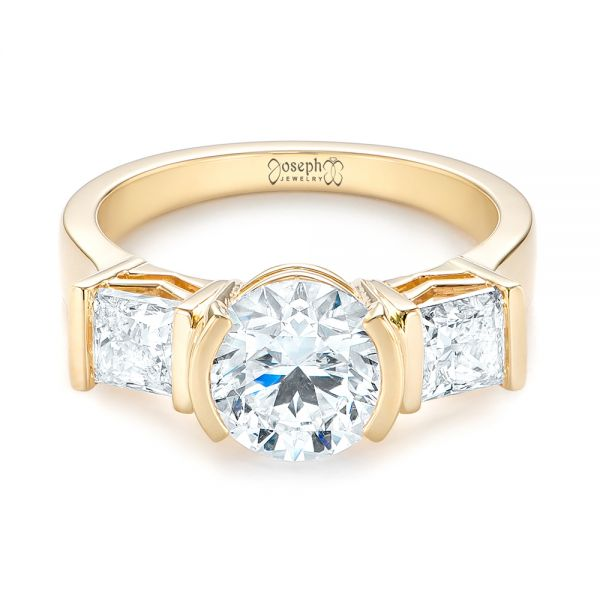 14k Yellow Gold Custom Three Stone Semi Bezel Diamond Engagement Ring - Flat View -