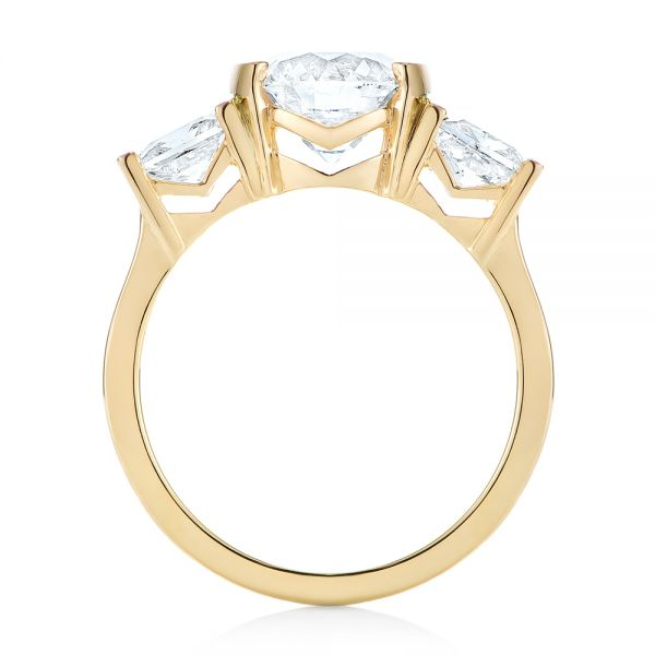 14k Yellow Gold Custom Three Stone Semi Bezel Diamond Engagement Ring - Front View -