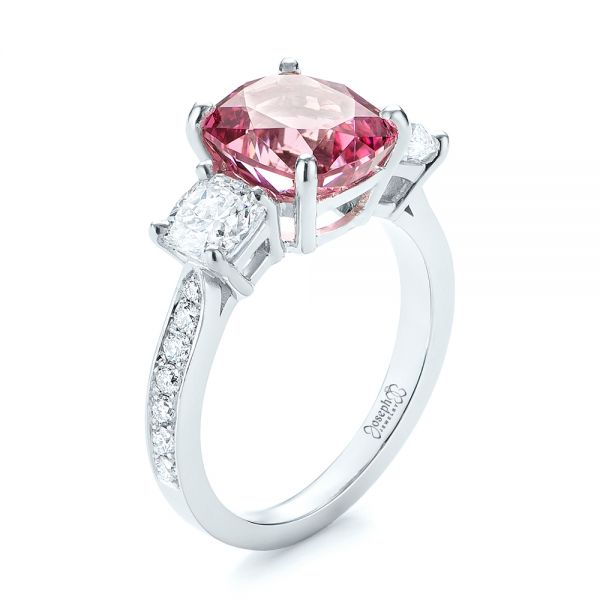 Custom Three Stone Spinel and Diamond Engagement Ring - Image