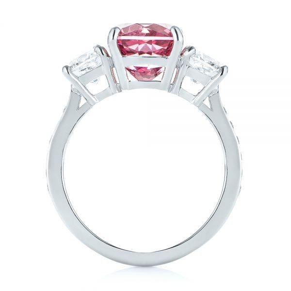 Platinum Custom Three Stone Spinel And Diamond Engagement Ring - Front View -  103647