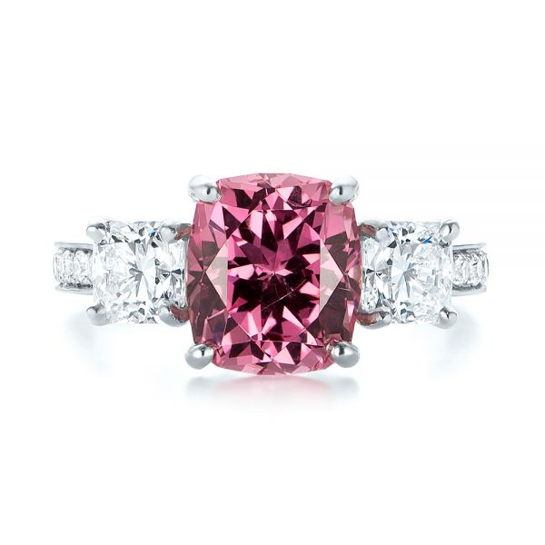Platinum Custom Three Stone Spinel And Diamond Engagement Ring - Top View -  103647