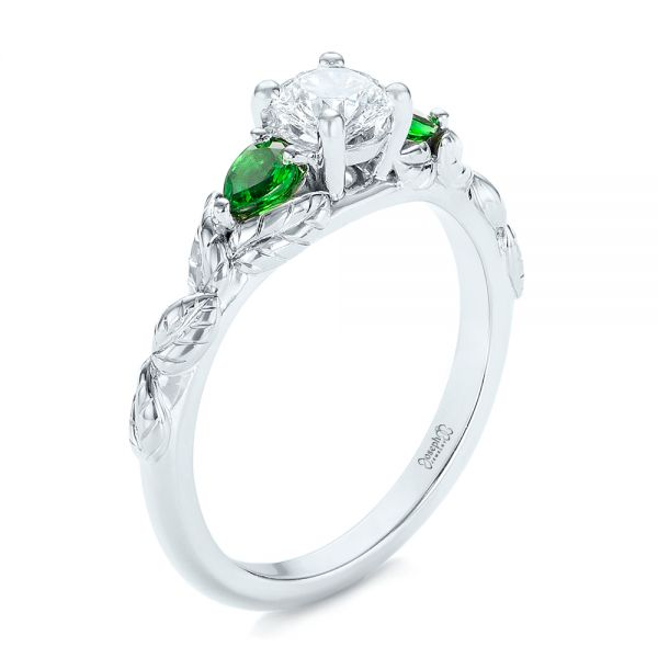 Custom Three-Stone Tsavorite and Diamond Engagement Ring