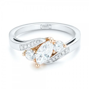 Custom Three Stone Two-Tone Diamond Engagement Ring