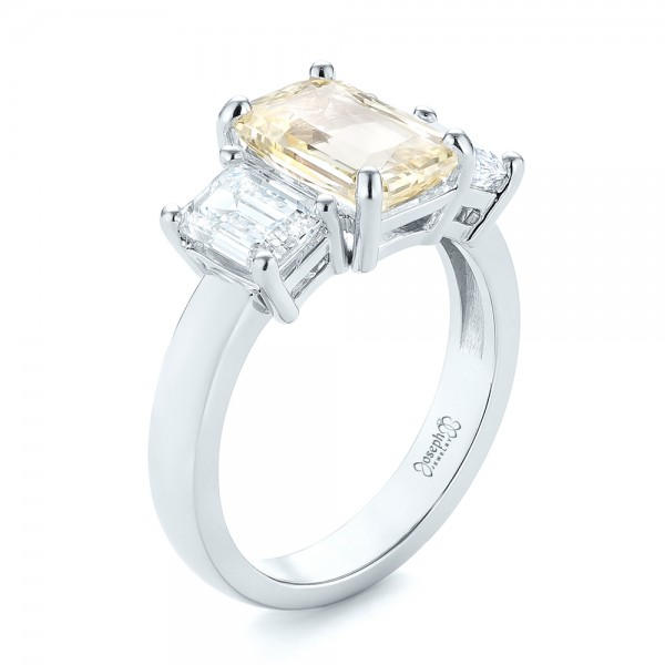 Custom Three Stone Yellow Sapphire and Diamond Engagement Ring - Image
