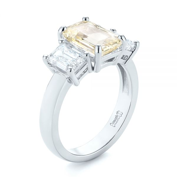 Custom Three Stone Yellow Sapphire and Diamond Engagement Ring