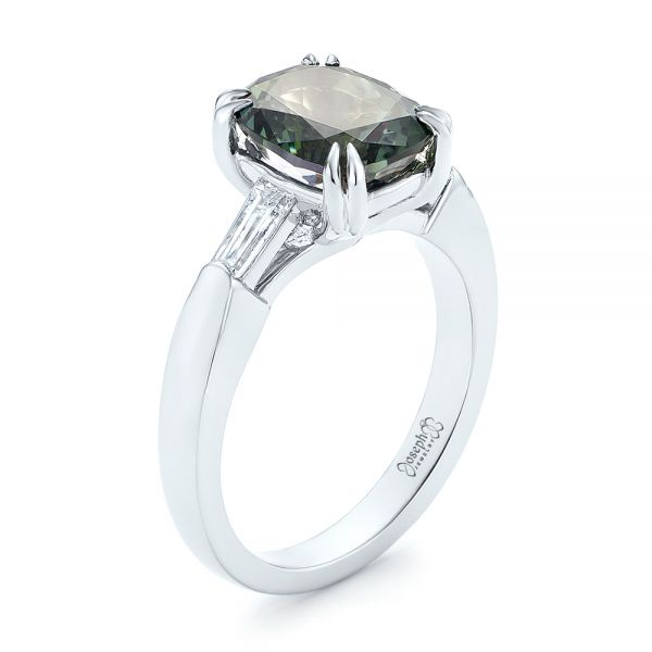 Custom Three Stone Zoisite and Diamond Engagement Ring - Image