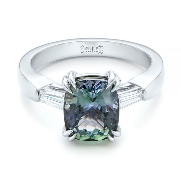 Custom Three Stone Zoisite and Diamond Engagement Ring - Flat View -  103288 - Thumbnail