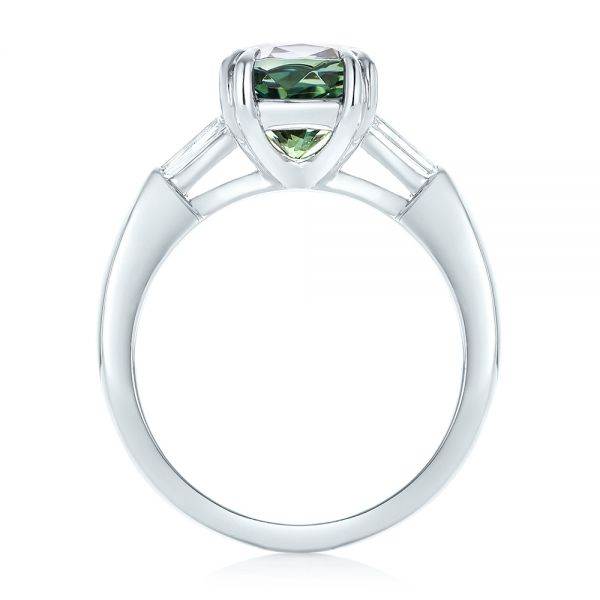 Custom Three Stone Zoisite and Diamond Engagement Ring - Front View -  103288 - Thumbnail