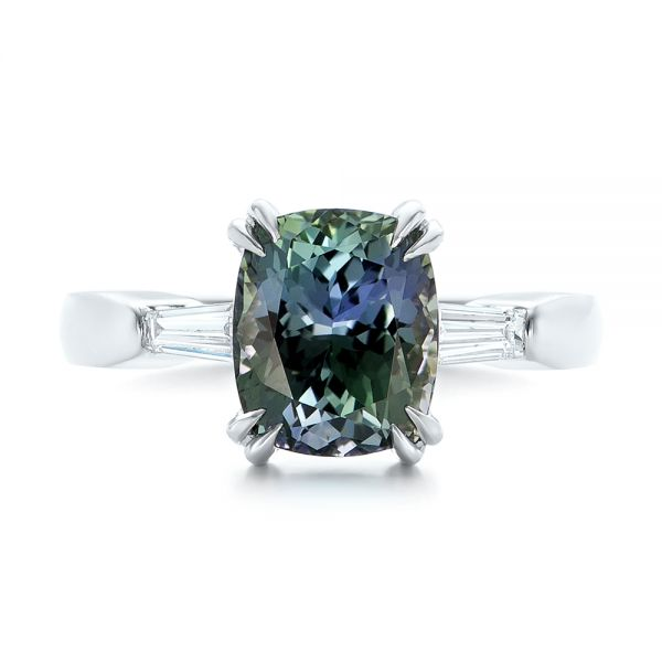 Custom Three Stone Zoisite and Diamond Engagement Ring - Top View -  103288 - Thumbnail