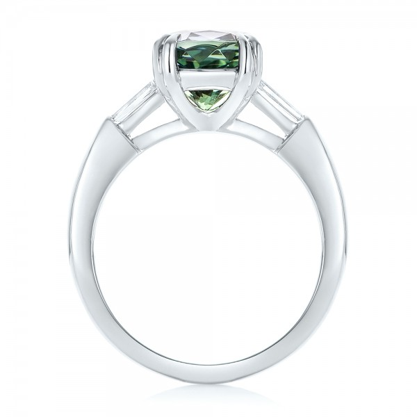 Custom Three Stone Zoisite and Diamond Engagement Ring - Finger Through View