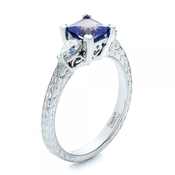 Custom Three Stone and Blue Sapphire Engagement Ring