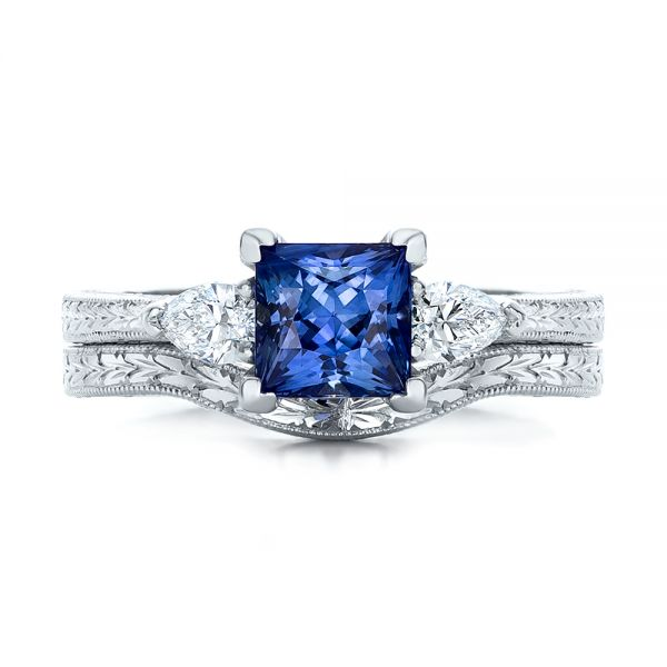 14k White Gold Custom Three Stone And Blue Sapphire Engagement Ring - Three-Quarter View -  102046