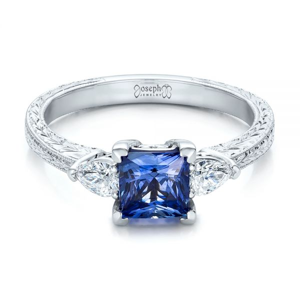 14k White Gold Custom Three Stone And Blue Sapphire Engagement Ring - Flat View -  102046