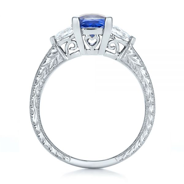 14k White Gold Custom Three Stone And Blue Sapphire Engagement Ring - Front View -  102046