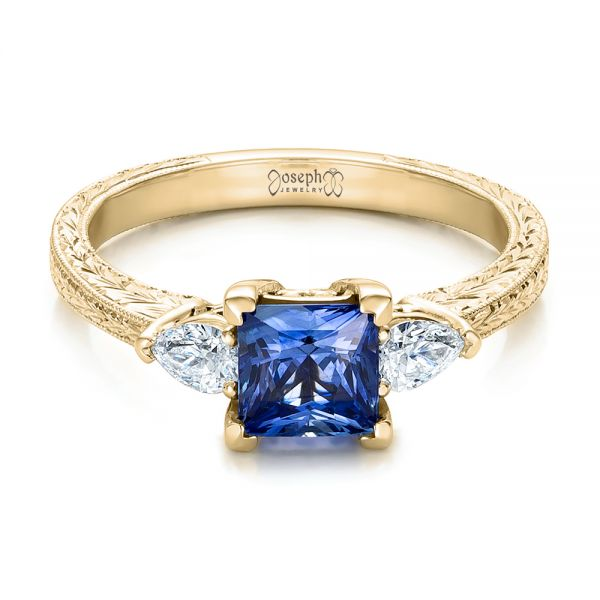 18k Yellow Gold 18k Yellow Gold Custom Three Stone And Blue Sapphire Engagement Ring - Flat View -