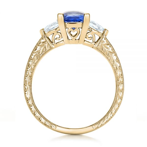 18k Yellow Gold 18k Yellow Gold Custom Three Stone And Blue Sapphire Engagement Ring - Front View -