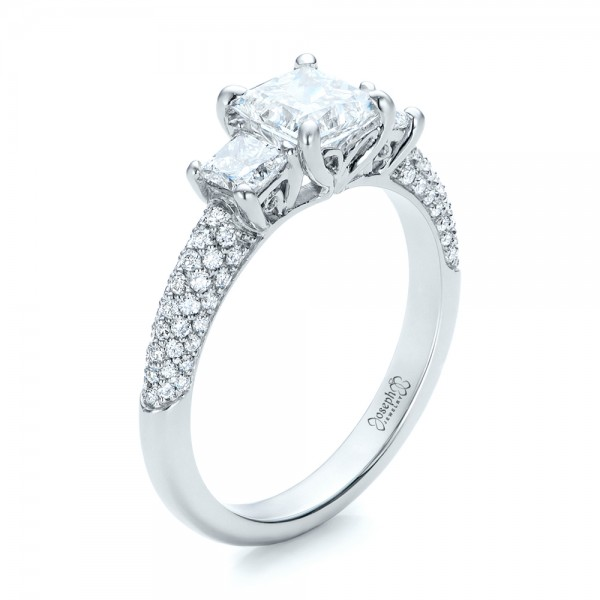 Custom Three Stone and Pave Diamond Engagement Ring - 3/4 View