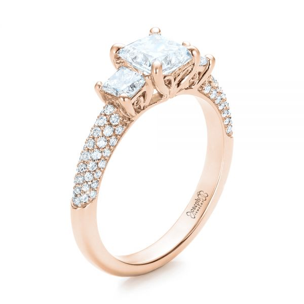 14k Rose Gold 14k Rose Gold Custom Three Stone And Pave Diamond Engagement Ring - Three-Quarter View -