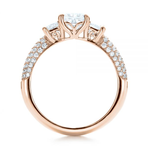 14k Rose Gold 14k Rose Gold Custom Three Stone And Pave Diamond Engagement Ring - Front View -