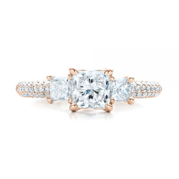 14k Rose Gold 14k Rose Gold Custom Three Stone And Pave Diamond Engagement Ring - Top View -