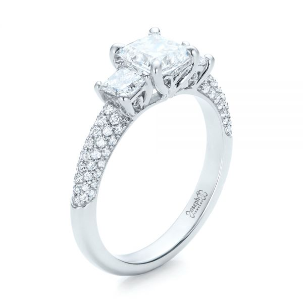 Custom Three Stone and Pave Diamond Engagement Ring