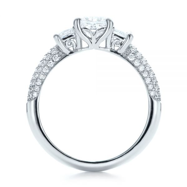 Custom Three Stone and Pave Diamond Engagement Ring - Front View -  100886 - Thumbnail
