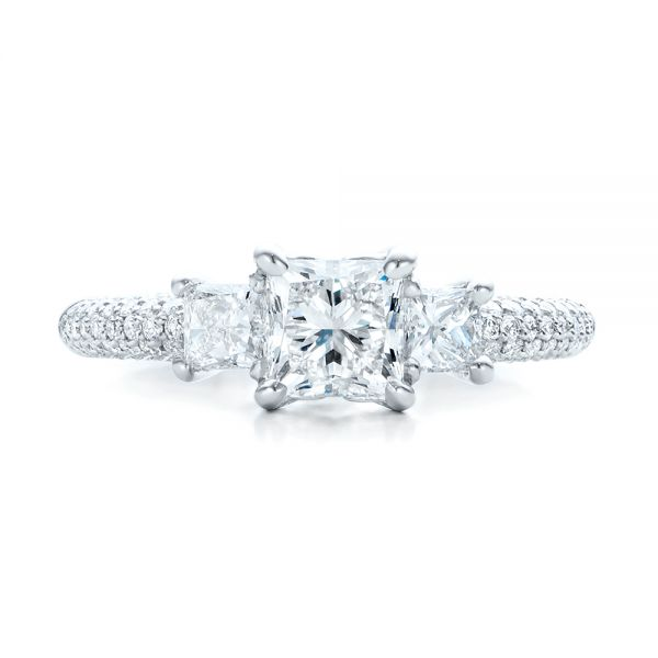 Custom Three Stone and Pave Diamond Engagement Ring - Top View -  100886 - Thumbnail