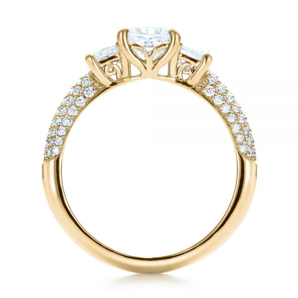 14k Yellow Gold 14k Yellow Gold Custom Three Stone And Pave Diamond Engagement Ring - Front View -