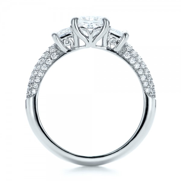 Custom Three Stone and Pave Diamond Engagement Ring - Finger Through View